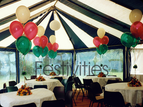 Marquee decorated with balloons