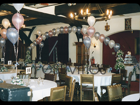 Pink and blue wedding balloons